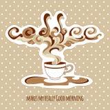 Weinlesetasse kaffee mit aufwändigem Dampf und Titel Stockfoto