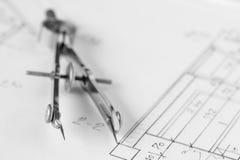 Weinleseteiler auf technischer Zeichnung Stockbilder