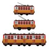 Weinlesetram, elektrischer Zug, Oberleitungsbus retro Führen Sie Ansicht der Seite des elektrischen Transportes einzeln auf Touri Stockfotografie