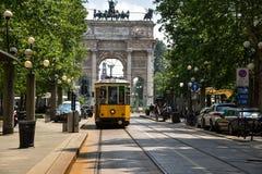 Weinlesetram in Mailand, Italien Lizenzfreie Stockfotos