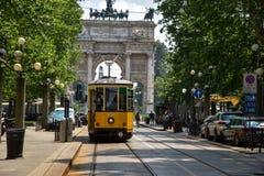 Weinlesetram in Mailand, Italien Lizenzfreies Stockfoto