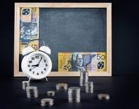 Weinleseuhr, Tafel, 50 australische Dollarschein und Münze Stockfotografie