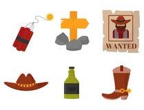 Weinleseunterzeichnet Westcowboyvektor amerikanische Symbole Lizenzfreie Stockfotos