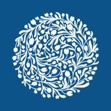 Weinlesevektor-Blumenkreis Runde Form machte vom Schattenbild von weißen Blumen lizenzfreie abbildung