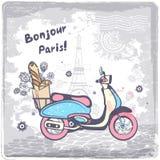 Weinlesevektor Paris-Postkartenillustration Stockfoto