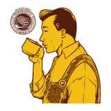 Weinlesevektorillustration des Manngetränkkaffees Lizenzfreie Stockfotos