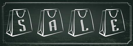 Weinleseverkaufsillustration Tafel, Kreideverkaufsbeschriftung, Papiereinkaufstaschen lizenzfreie abbildung