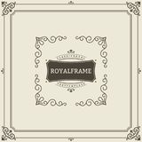 Weinleseverzierungs-Grußkarten-Vektorschablone Retro- Luxuseinladung, königliches Zertifikat Flourishesrahmen weinlese stock abbildung