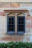 Weinlesewand-Fenster Grün lässt Hintergrund Stockfotografie