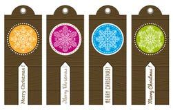 Weinleseweihnachtsaufkleber mit Text, Vektor Stockbild