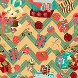 Weinleseweihnachtshäschen charater mit nahtlosem Mustervektor der Geschenke stock abbildung