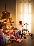Weinleseweihnachtsinnenraum Stockfoto