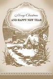 Weinleseweihnachtskarte Stockfoto