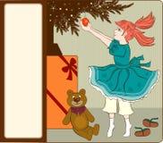 Weinleseweihnachtskarte Lizenzfreies Stockfoto