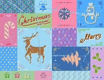 Weinleseweihnachtskarte in den blauen Farben Stockfotos