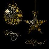 Weinleseweihnachtskarte mit Kugel, Schneeflocken Stockbild