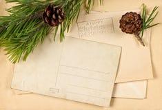 Weinleseweihnachtspostkarte Stockbild