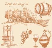 Weinlesewein- und Weinherstellungset vektor abbildung