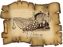 Weinleseweinaufkleber stock abbildung