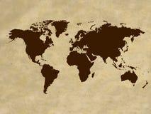 Weinleseweltkarte Stockbild
