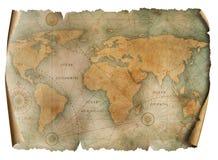 Weinleseweltkartepergament lokalisiert auf Wei? Basiert auf dem Bild geliefert von der NASA lizenzfreie stockbilder