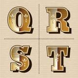 Weinlesewestalphabet beschriftet Schriftartvektorillustration Stockbild