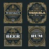 Weinlesewhisky und alkoholische Getränkevektoraufkleber im Art- DecoRetrostil lizenzfreie abbildung