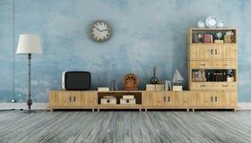 Weinlesewohnzimmer mit kleinem Fernsehen Lizenzfreie Stockbilder