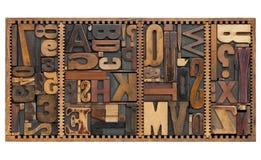 Weinlesezeichen, Zahlen und Interpunktionzeichen stockbild
