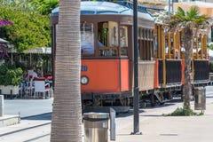 Weinlesezug, Tram in Port de Soller, Mallorca Lizenzfreies Stockfoto