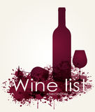 Weinliste mit Rotweinen Stockfoto
