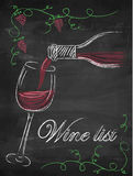 Weinliste mit Weinglas und Weinflasche auf Tafel backgrou stock abbildung