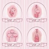 Weinlisten-Designschablonen mit Weinflaschen und -gläsern vektor abbildung