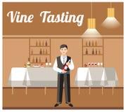 Weinprobe-Bankett-Ereignis-flache Vektor-Fahne lizenzfreie abbildung
