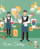 Weinprobe-Ereignis-Fahnen-flache Vektor-Illustration lizenzfreie abbildung