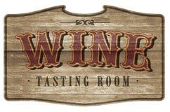 Weinprobe-Raum-Zeichen Logo Art Wooden Western Style lizenzfreies stockbild