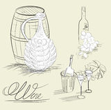 Weinskizze Lizenzfreies Stockbild