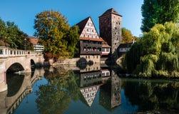 Weinstadel in Nuremberg half timbered house Bavaria Germany stock images