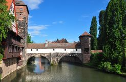 Weinstadel, Wasserturm, Henkersteg i Henkerturm w Nuremberg, zdjęcia royalty free