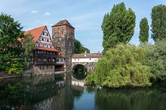 Weinstadl at the river Pegnitz in the old town of Nuremberg, Ger Royalty Free Stock Image