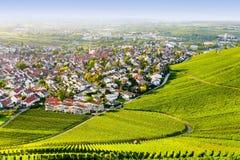 Weinstadt панорамы виноградников Стоковые Фотографии RF