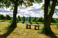 Weinstadt de panorama de vignobles Photographie stock libre de droits