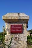 Weinthema. Bordeauxheiliges emilion Stockfotos
