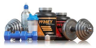 Weiproteïne met domoren en schudbeker Sporten die sup bodybuilding Royalty-vrije Stock Afbeeldingen