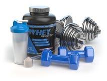 Weiproteïne met domoren en schudbeker Sporten die sup bodybuilding Royalty-vrije Stock Foto
