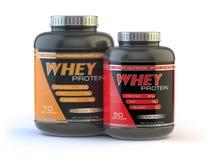 Weiproteïne op wit Sporten die supplementen bodybuilding Stock Fotografie