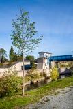 Weir - baixa represa - Bayreuth fotografia de stock