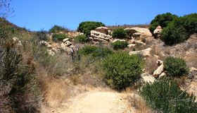 Weir Canyon Trail 2. Sandstone geology on a hiking trail in Orange County, CA Stock Photos