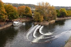 Weir in the centre of the City of Bath Royalty Free Stock Image