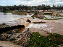 Weir collapse in Ping River, Chiangmai Thailand Royalty Free Stock Image